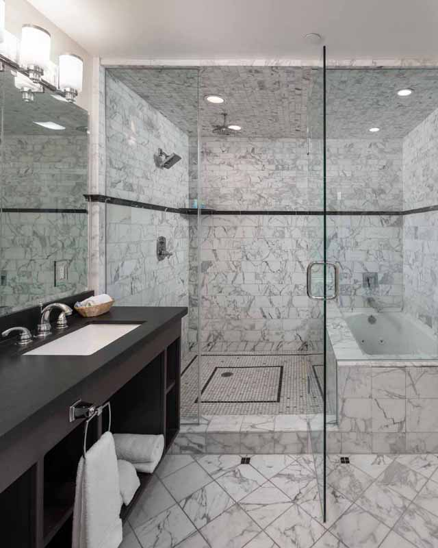 Amelia Earhart Suite Shower at the Glenmore Plaza Hotel